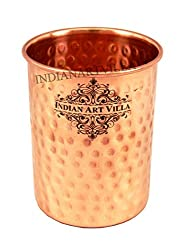 IndianArtVilla 3.5 X 2.8 Pure Copper Small Hammered Glass Tumbler Cup 250 ML - Serving Water Home Hotel Restaurant Good Health Benefit Yoga Ayurveda