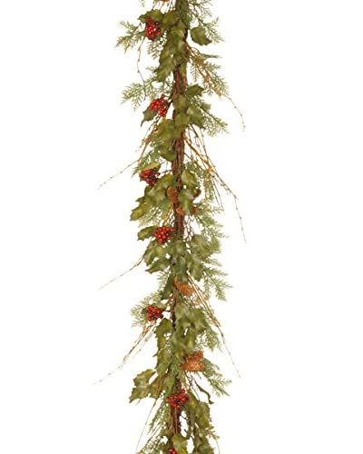 National Tree Company 6' Decorative Collection Holly Leaves Vine Garland