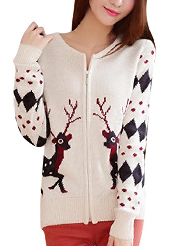 Cute Christmas Cartoon Deer Print Knit Cardigan Sweater White
