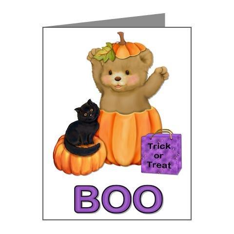 Halloween Teddy Bear in a Pumpkin Note Card (Set