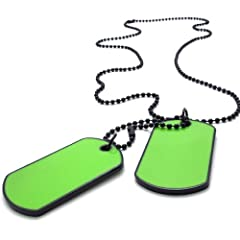 KONOV Jewelry Army Style 2pcs Dog Tag Pendant Mens Necklace Chain Green