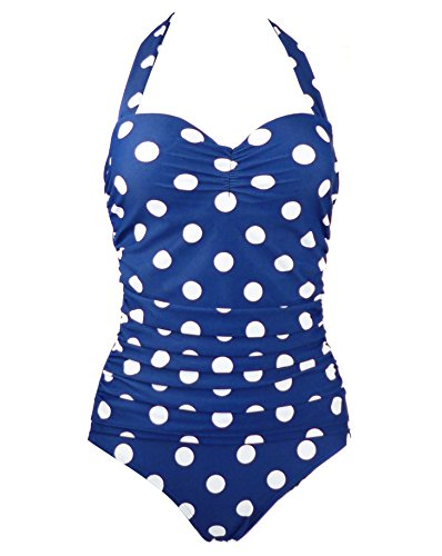 1950s Retro Vintage One Piece Monokini Navy Blue with White Polka Swimsuits Swimwear XXL(FBA) image