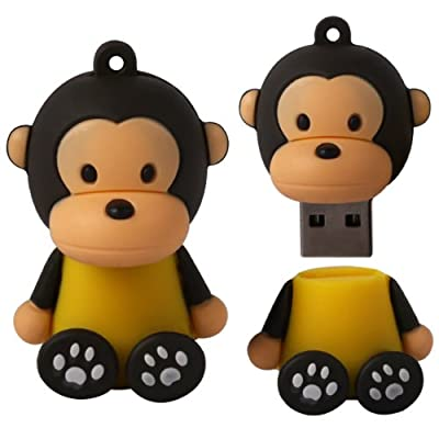 8 GB Novelty XYLO-FLASH Cute Monkey Keyring USB 2.0 Memory Stick / Pen Storage Drive Compatible With PC / Mac. from XYLO ACCESSORIES
