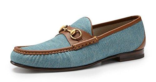 380489484 Gucci Mens Blue Denim 1953 Horsebit Moccassin Loafer 310090 Check ...