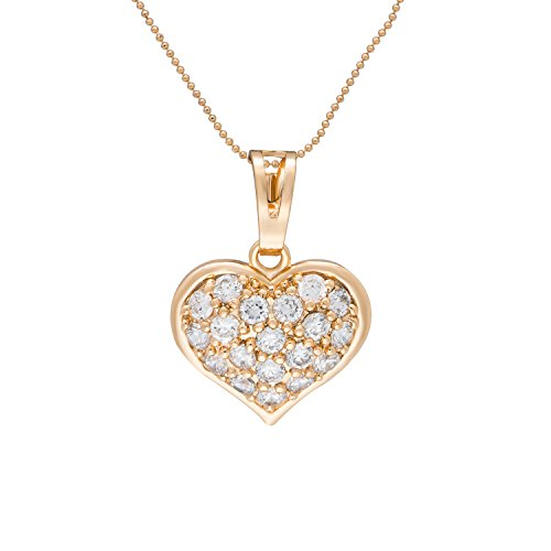 "Romantic Time ""Heart of Diamonds"" 18k Rose Gold Plated Rhinestone Studded Lovers Pendant Necklace"