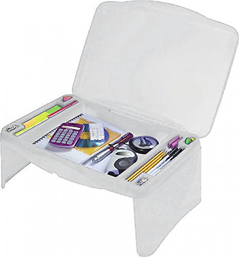 Kids Folding Lap Desk with Storage - White - Durable Lightweight Convertible Computer Childrens Desks (Lap Trays Kids compare prices)