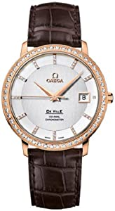 Omega DeVille Silver Diamond Dial 18kt Rose Gold Brown Alligator Leather Mens Watch 413.58.37.20.52.001
