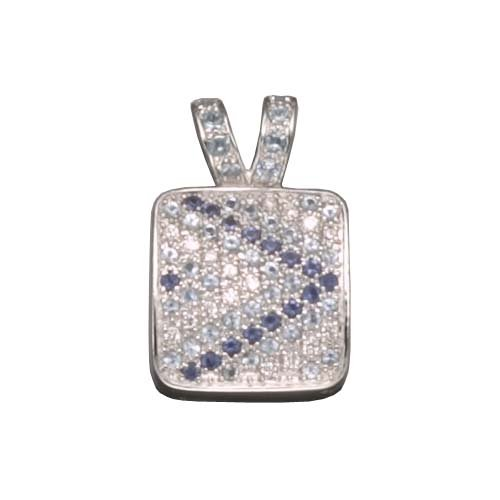 C.Z. SAPPHIRE AND BLUE TOPAZ RHODIUM PLATED (.925) STERLING SILVER PENDENT (Nice Gift, Special Sale)
