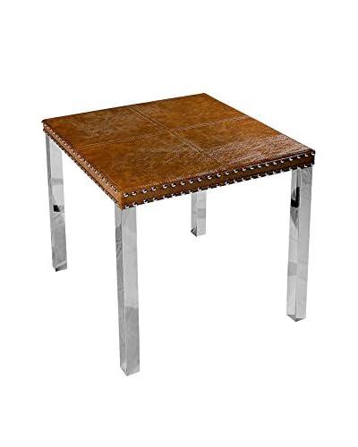 Decorative Leather Books Dalton Side Table, Brown/Silver
