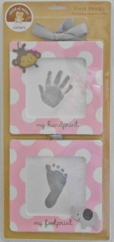 Carter's Baby's First Handprint & Footprint Kit Pink White Dots Frames For Girl - 1