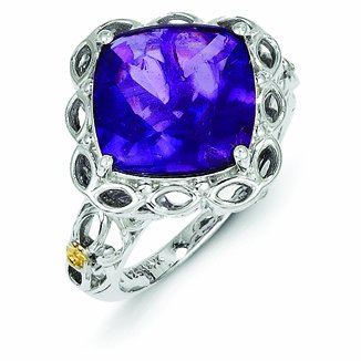 Sterling Silver with 14k Gold Amethyst Ring - (Size 8)