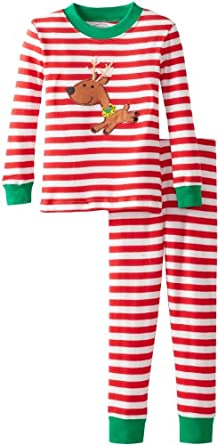 Sara's Prints Little Boys' Long John Pajama, Red/White Stripe, 2
