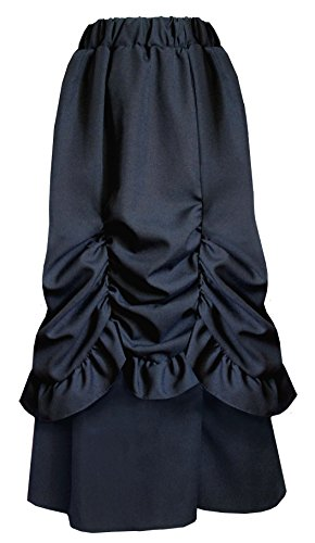 Victorian-Steampunk-Gothic-Theater-Bustle-Long-Black-Skirt
