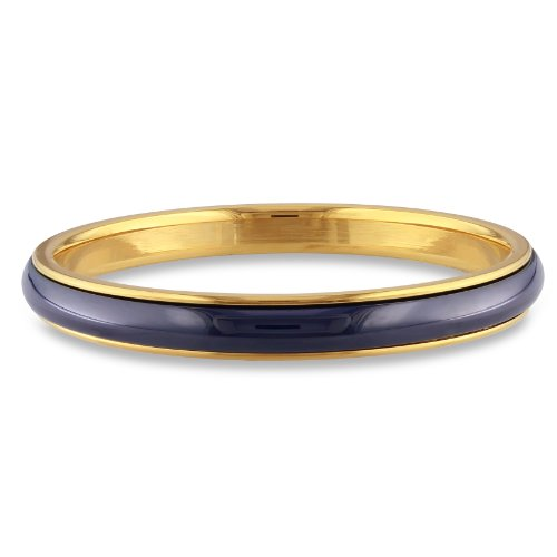 Stainless Steel Yellow Plated Navy Blue Ceramic Bangle (7in)
