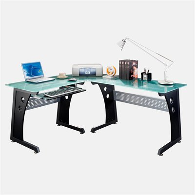 Buy Low Price Comfortable Mad Tech 29.5×54.5×64.5 Graphite Glass Panel & Steel Frame Computer Office Desk Table (B004W0MJ80)