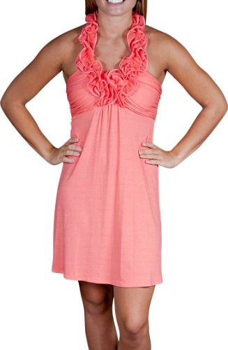 Alki'i Ruffled HalterCasual Evening Party Cocktail Dress - Coral M