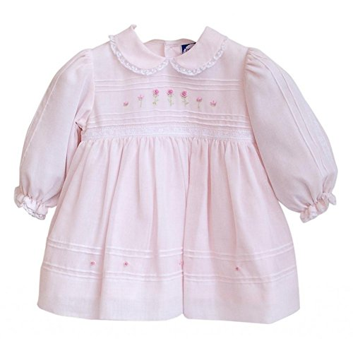 Imagewear Pale Pink Hand Smocked Pleated Peter Pan Neck Dress Girl 6M front-1002716