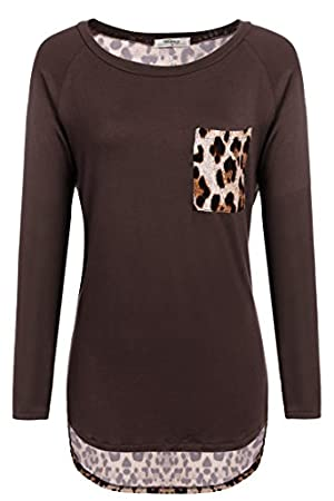 Meaneor Women's Long Sleeve Loose Leopard T-Shirt Tops Hi low Blouse With Pocket (XXL, Dark Brown)