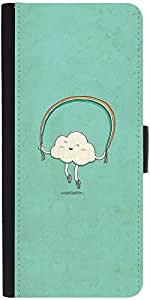 Snoogg Cartoon Cloud Graphic Snap On Hard Back Leather + Pc Flip Cover Samsun...