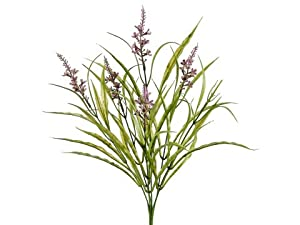 "Faux 19"" Wild Stock Flower/Grass Bush Purple (Pack of 12)"