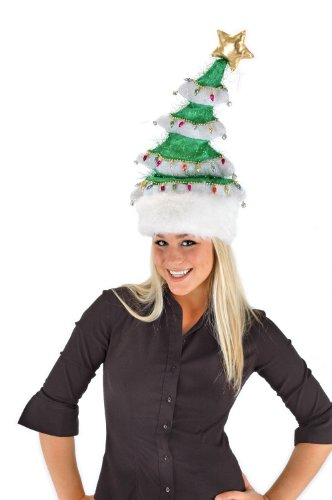 elope Springy White Christmas Tree Hat, Multi-Colored, One Size