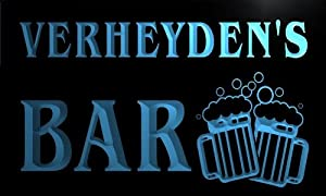 w107001 b VERHEYDEN Name Home Bar Pub Beer Mugs Cheers Neon Light Sign