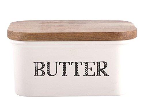 Creative-Tops-Bake-Stir-It-Up-Butterdose-aus-Steingut-mit-Deckel-aus-Akazienholz-gro-Wei