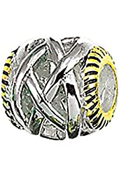 Zable Sterling Silver and Yellow Color Plated Braid Spacer Bead