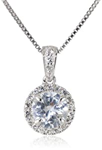 """Sterling Silver 6mm Round Created White Sapphire Halo Pendant Necklace, 18"""""""
