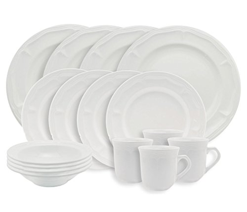 Empire Collection EMP9001 Simply Stoneware Dinnerware Set, Baroque Rim Imprint, 16-piece, White (Pack of 16)