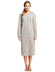 Hooded Zip Through Striped Fleece Dressing Gown