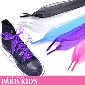 【クリックでお店のこの商品のページへ】オーガンジーリボン靴ひも【ホワイト】: 服&ファッション小物