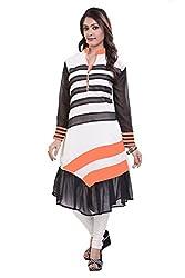 Giriraj Fashion Women's Orange Georgette Kurti, XL