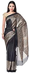 Mahek Women's Silk Saree with Blouse Piece (Black)