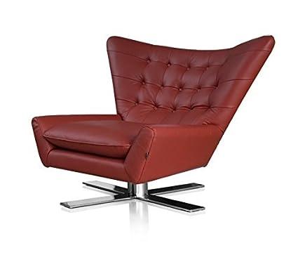 Drehbarer V-förmiger Echtleder Ohrensessel Fernsehsessel Armlehnsessel Lounge Sessel. Abbildung in Leder Bordeaux Rot