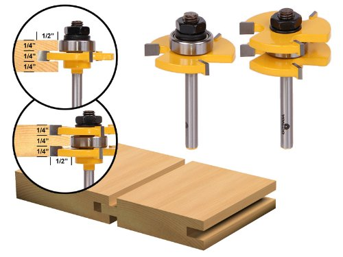 Tongue Groove Router Bit Set 3 4 Stock 1 4 Shank Yonico 15221q