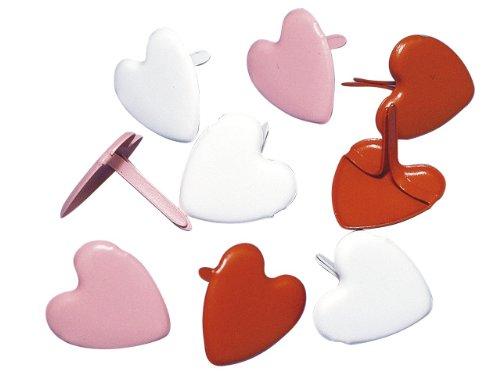 Rayher - 7835749 - tachuelas de corazón y de, 12 mm, caja 50 pcs, de colour rojo-verde