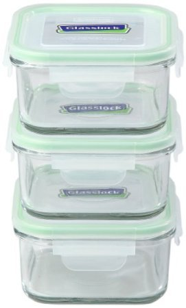 Kinetic Go Green Glasslock 01332 17-Ounce Square Glass Food-Storage Containers With Locking Lids, Set Of 3