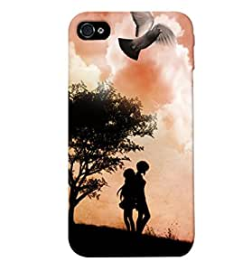 Fuson Love Couple with Birds Back Case Cover for APPLE IPHONE 4 - D4019