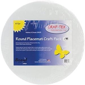 """Craf-Tex Round Placemat Craft Pack-16"""" Round White 4/Pkg"""