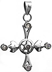 Exotic India Rainbow Moonstone Cross Pendant - Sterling Silver