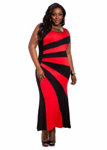 4e2ecb8a346 Ashley Stewart Women s Plus Size Sunburst Color Block Maxi Red Coat ...