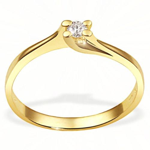goldmaid Damenring Gelb Gold 585 1 Brillant 0,10 Karat Verlobungsring Größe 54 So R4385GG54