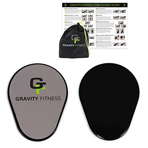 Gravity Fitness Core Sliders, 1 Pair of Ergonomic Pear-shaped Gliding Discs, Dual Sided Sliding Plate for Carpets or Hardwoods, Includes Free Storage Bag and Exercise Program (Black) (Sliding Plates Workout compare prices)