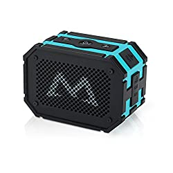 Mpow Armor Portable Wireless Bluetooth Speakers with Extral 1000 mAh Emergency Power Bank and Splashproof Shockproof Dustproof for Outdoor/Shower,Blue/Black
