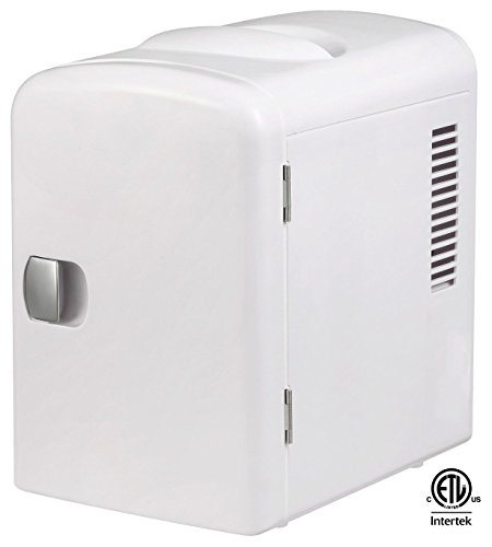 Gourmia GMF-600 Gourmia GMF600 Portable 6 Can Mini Fridge Cooler and Warmer for Home ,Office, Car or Boat AC & DC, White (Mini Fridge 4 Liter compare prices)