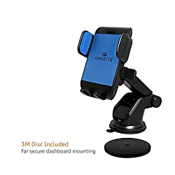 Amkette M55 Telescopic Car mount for all trending phones having up to 152.4 mm (i.e. 6 inches) screen size (360° Viewing, 3M disc for extra secure mounting) (Blue-Black)
