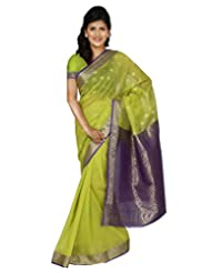 Paaneri Fresh Lime Color Cotton Silk Saree With Gadwal Pallu-14103015803