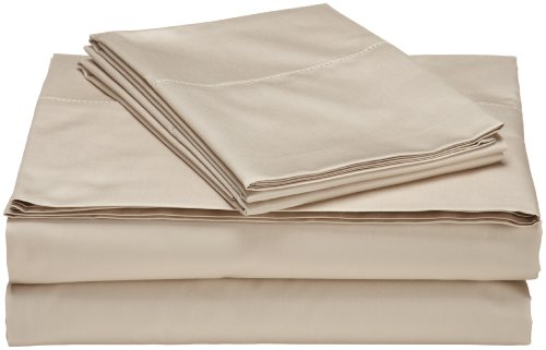 Pinzon Hemstitch 400-Thread-Count Egyptian Cotton Sateen Sheet Set, King, Taupe