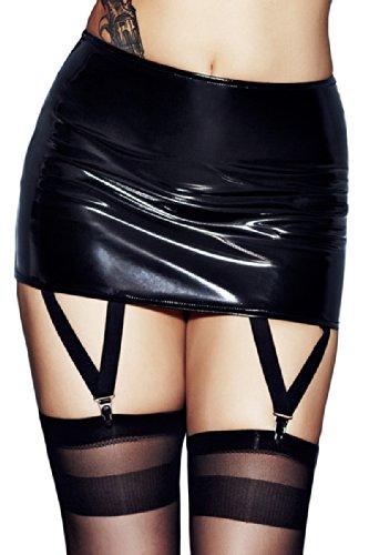 Dessous-Sexy-Lack-Rock-Straps-rock-mit-Strumpfhaltern-schwarz-Reizwsche-Clubwear